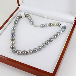 Multicolour Graduated Tahitian Baroque 10-12mm Pearl Necklace 14K White Gold