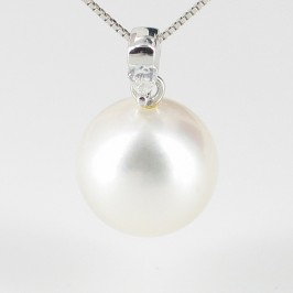 White South Sea Pearl & Diamond Pendant Necklace 11-12mm On 18K White Gold