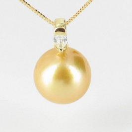 Golden South Sea Pearl & Diamond Pendant Round Pearl 18K Yellow Gold