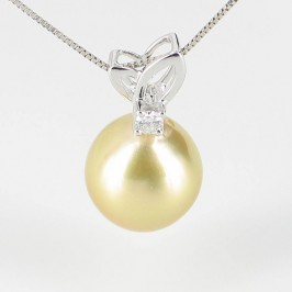 Golden South Sea Drop Pearl & Diamond Pendant 11-12mm 18K White Gold