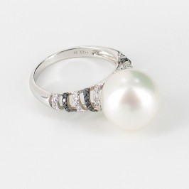 South Sea Pearl & Black/White Diamond Ring Round Pearl 18K White Gold