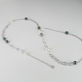 South Sea & Tahitian Baroque Pearl Necklace 9-10mm Sterling Silver