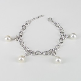 South Sea Pearl Bracelet on Silver Chain Baroque  925 Silver