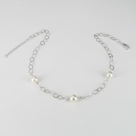 South Sea Pearl Necklace On Silver Chain Baroque  925 Silver