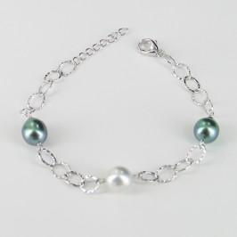 Tahitian & South Sea Baroque Pearl Bracelet On Sterling Silver Chain