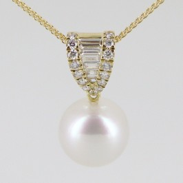 South Sea AAA Pearl 11-12mm & Diamond Pendant Necklace 18K Yellow Gold