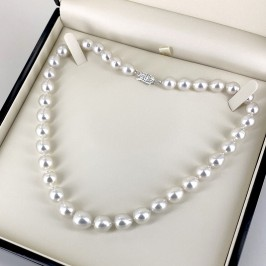 Graduated South Sea 9-11mm Oval Baroque Pearl Necklace 14K Gold