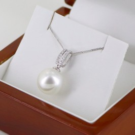South Sea Pearl & Diamond Pendant Necklace 11-12mm On 18K White Gold