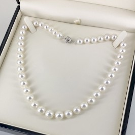 White 9-11.5mm Graduated South Sea Pearl Necklace 18K Gold