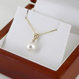 South Sea Pearl & Diamond Pendant Necklace 8-8.5mm On 18K Yellow Gold