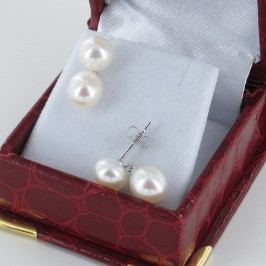 Double Pearl Drop Earrings, 7.5-8mm Pearls With Sterling Silver