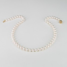 Japanese Akoya Pearl Necklace AAA 7-7.5mm With 18K Yellow Gold