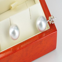 Silvery White South Sea Pearl Earrings 10-11mm 9K White Gold