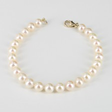 White Freshwater Pearl Bracelet, 6.5-7mm Pearls With 14K Yellow Gold