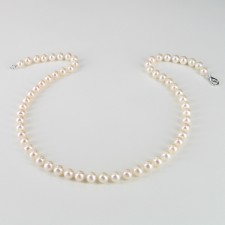 Classic Princess Pearl Necklace, 6.5-7mm Pearls With 14K White Gold