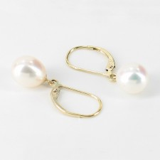 White Drop AAA Pearl Leverback Earrings 8-8.5mm On 9K Yellow Gold