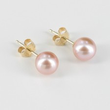 Lilac Stud Pearl Earrings 6.5-7mm On 14K Yellow Gold