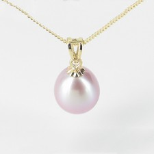 Lilac Freshwater Drop Pearl Pendant 8.5-9mm On 9K Yellow Gold