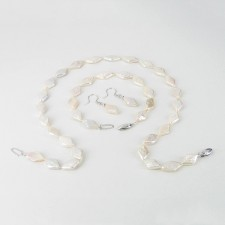 White Rhombus Shape Pearl Necklace Set 9.5 x 15mm With Sterling Silver