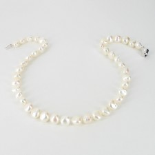 Large Baroque Pearl Necklace 9-10mm With Sterling Silver