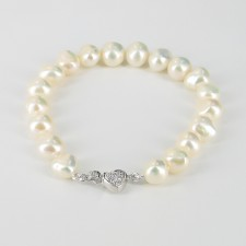 Baroque 8-9mm 'Christmas' Pearl Bracelet, Sterling Silver & Cubic Zirconia Heart Clasp