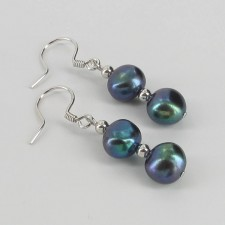 Black Freshwater Double Pearl Baroque Hook Earrings 8-9mm On Sterling Silver