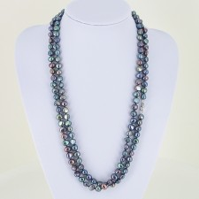 Mini Shanghai Long Black Baroque 8-9mm Pearls Necklace