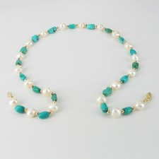 White Baroque Pearl & Turquoise 8-9mm Necklace With 14K Yellow Gold