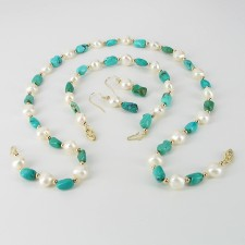 Baroque 8-9mm Pearl & Turquoise Set, 14K Yellow Gold Clasps And Hooks