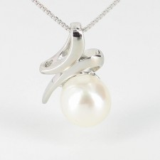 White Button Pearl Pendant Necklace AAA 8-8.5mm On Sterling Silver
