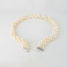 Triple Strand Chunky Baroque Pearl Necklace With Sterling Silver