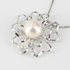 White Pearl & Cubic Zirconia Pendant Necklace 8-8.5mm On Sterling Silver