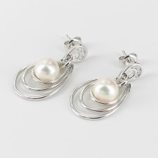 Pearl & Cubic Zirconia Earrings 7.5-8mm On Sterling Silver
