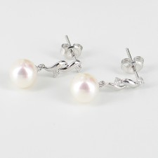 White Pearl & Diamond Earrings 7.5-8mm 9K White Gold