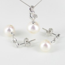 White Pearl & Diamond Pendant Set 9K White Gold