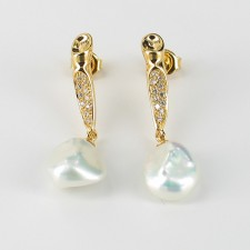 Large Keshi Pearl Drop Earrings & Cubic Zirconia 10-11mm On 18K Gold Vermeil