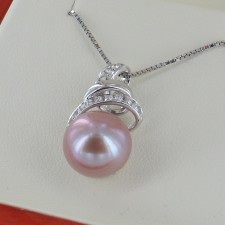 Large 12-13mm Pink Pearl Pendant Necklace With Cubic Zirconia