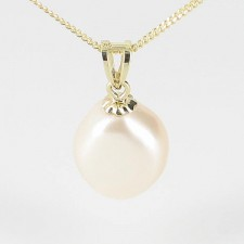 Large White Baroque Pearl Pendant 9-10mm On 9K Yellow Gold