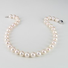 Large White Statement Pearl Necklace 10.5-11.5mm With Sterling Silver