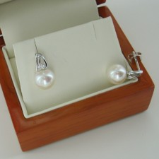 Large Pearl & Diamond Earrings 8-8.5mm on 9K White Gold