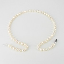 White Freshwater Pearl Necklace 6.5-7mm With 9K White Gold