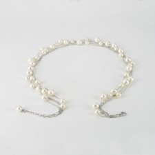 Four Strand Adjustable Pearl Chain Necklace 6-8mm On Sterling Silver
