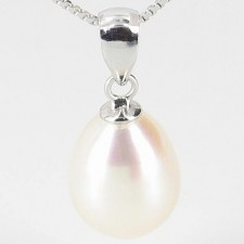 White Pearl Drop Pendant Necklace 8.5-9mm On Sterling Silver