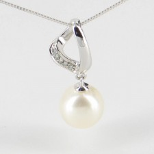Diamond and Large Freshwater Pearl Pendant Necklace 8.5-9mm 9K White Gold