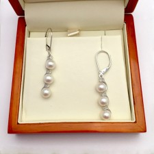 White Triple Pearl & Triple Diamond Earrings 5.5-6mm With 9K White Gold