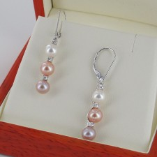 Multicolour Triple Pearl & Diamond Earrings 5.5-6mm With 9K White Gold