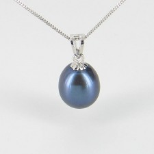 Black Freshwater Drop Pearl Pendant Necklace 8-8.5mm On 9K White Gold