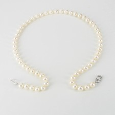 White Freshwater Pearl Necklace 7-7.5mm With Sterling Silver
