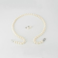 White Pearl Necklace & Pearl Earrings Gift Set  With Sterling  Silver