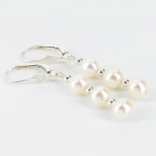 White Freshwater Triple Pearl Leverback Earrings 6.5-7mm On Sterling Silver